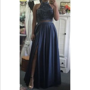 Sherry Hill Two-Piece Prom Dress with Beaded Top